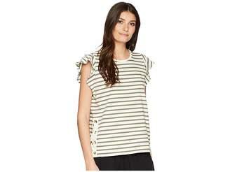 Lauren Ralph Lauren Striped Cotton Flutter Sleeve T-Shirt Women's T Shirt