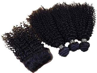styling/ SAOMAI® 4Pcs/Lot Unprocessed 6A Grade Brazilian Kinky Curly Virgin Hair Weave With Closure 3Pcs 100% Virgin Human Hair Extensions Weft Bundles With Top Lace Closures 4*4