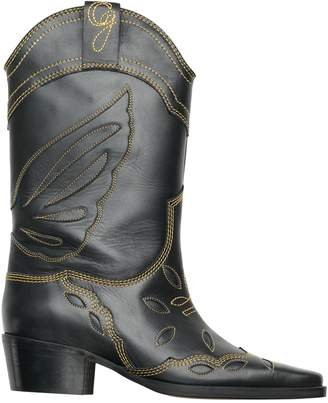 Ganni Leather Mid-Calf Cowboy Boots