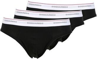 DSQUARED2 Underwear Pack Of 3 Logo Cotton Jersey Briefs