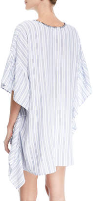 Tommy Bahama Lace-Up Striped Tunic with Blanket Stitch