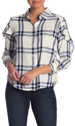 Kensie Jeans Ruffle Long Sleeve Button Up Top