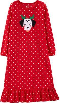 Carter's Girls 4-14 Christmas Dog Fleece Nightgown