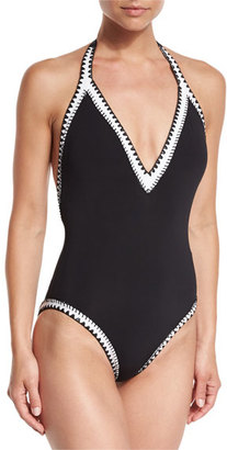 Seafolly Summer Vibe Deep V One-Piece Maillot Swimsuit, Black $182 thestylecure.com