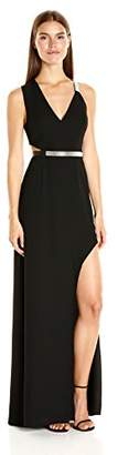 Halston Women's Sleeveless V Neck Gown with Multi Chain Strap
