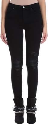 Amiri Leather Patch Biker Black Jeans