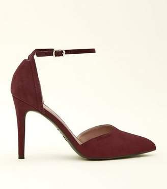 New Look Dark Red Suedette Ankle Strap Pointed Courts