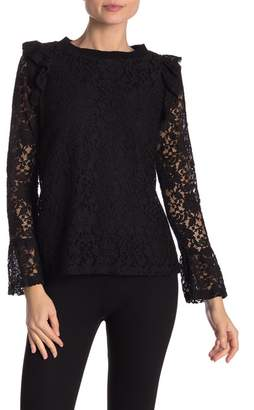 Hazel Long Sleeve Lace Crew Neck Blouse