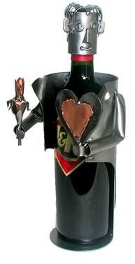 H & K SCULPTURES Hearts & Flowers-Male 1 Bottle Tabletop Wine Rack H & K SCULPTURES