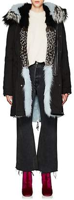 Mr & Mrs Italy Women's Fur-Trimmed & -Lined Cotton Parka - Black