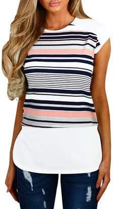 YONYWA Striped Print Short Sleeve Blouse Casual Women Tops Tee