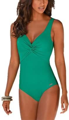3777a73628 MiYang Women s Tummy Control One Piece Swimwear Deep V Backless Push up Swimming  Costume