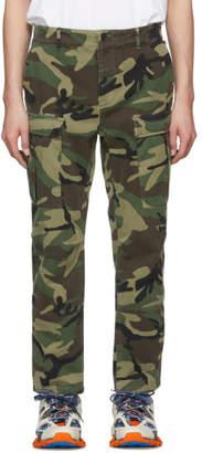 Balenciaga Green Gabardine Camo Cargo Pants