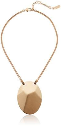 Kenneth Cole New York Pyrite Pave Geometric Oval Disc Pendant Necklace