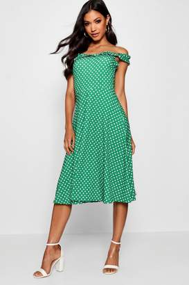 boohoo Frill Neck Edge Polka Dot Midi Skater Dress