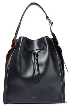 3.1 Phillip Lim Hudson Calf Hair-Paneled Glossed-Leather Tote