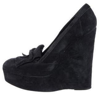 Balenciaga Suede Platform Wedge Pumps