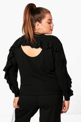 boohoo Plus Ruffle Back Sweatshirt