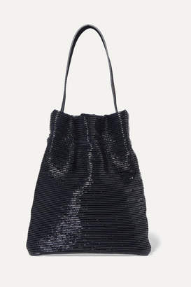 TL-180 - Fazzoletto Ribbed Patent-leather Shoulder Bag - Navy