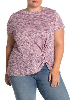 Bobeau B Collection by Short Sleeve Side Knot Space Dye Crew T-Shirt (Plus Size)