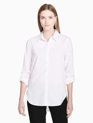 Calvin Klein Pearl Collar Button-Down Boyfriend Shirt