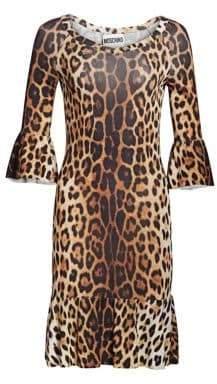 Moschino Ruffle Sleeve Leopard Print Dress