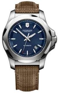 Victorinox I.N.O.X Automatic Blue Dial Stainless Steel Wood& Leather Strap Watch