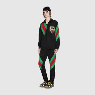 Gucci Oversize nylon jacket with Web intarsia