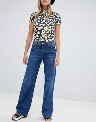 Monki wide leg jeans in mid blue