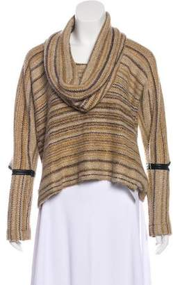 Yigal Azrouel Leather-Trimmed Striped Sweater