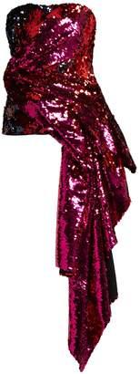 HALPERN Sequinned asymmetric-draped bustier top