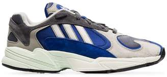 hot sale online 6c72c e9fd6 adidas grey and blue Yung 1 leather and suede sneakers