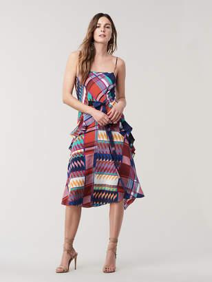 Diane von Furstenberg Josie Silk Ruffled Midi Dress