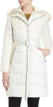 BCBGMAXAZRIA Faux Fur-Trimmed Belted Down Coat