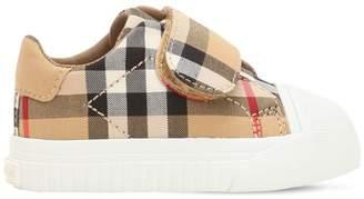 Burberry Check Cotton Strap Sneakers