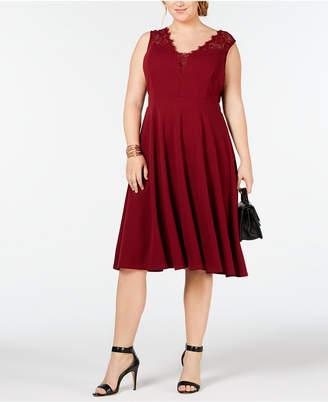 Soprano Trendy Plus Size Lace-Trim Fit & Flare Dress
