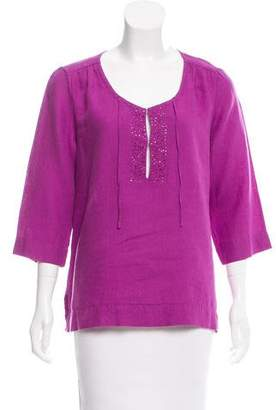 Eileen Fisher Embellished Woven Top