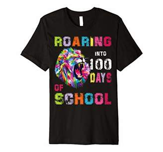 100 Days Of School Shirt Lion Roaring Into 100th day t-shirt