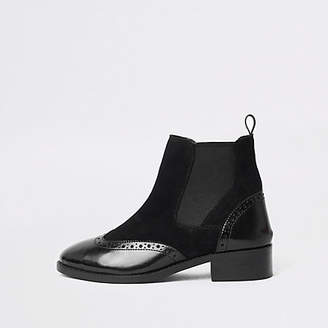 River Island Womens Black brogue detail ankle boots