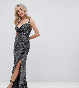 Missguided Petite exclusive petite sequin cowl neck side split maxi dress in black