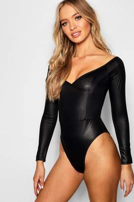 boohoo Leather Look Off Shoulder Bodysuit
