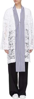 J.Cricket Stripe sash scarf guipure lace coat