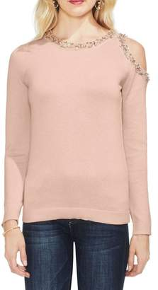 Vince Camuto Embellished Collar One Cold Shoulder Top