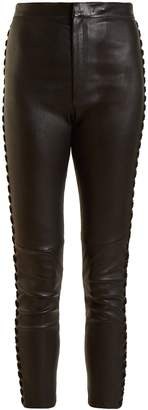 Isabel Marant Medley whipstitch-seam cropped leather trousers