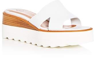 Aquatalia Women's Tayla Weatherproof Leather Platform Slide Sandals