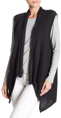 Eileen Fisher Wool Ribbed Knit Shawl Collar Vest