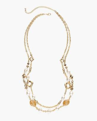 Gold-Tone and Faux-Pearl Double-Strand Necklace