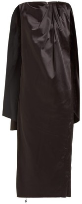 Marina Moscone - Cape Back Silk Blend Midi Dress - Womens - Black