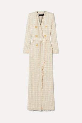 Balmain Button-embellished Frayed Tweed Coat - Beige