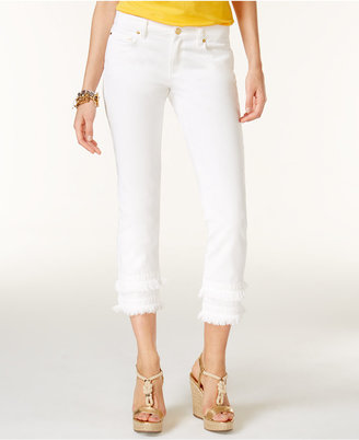 MICHAEL Michael Kors Cotton Frayed Skinny Jeans $135 thestylecure.com